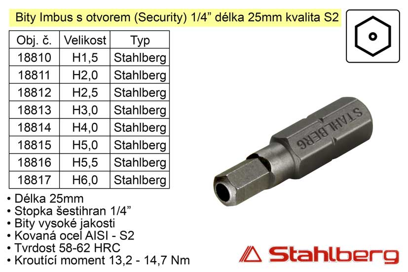 Bit Imbus H2x25mm 1/4' Security Stahlberg