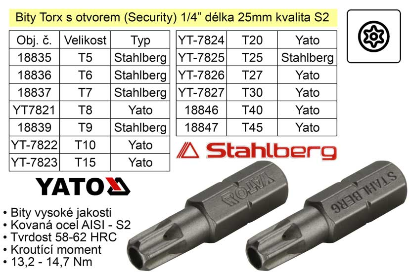 Bit Torx  T9x25mm 1/4' Security STAHLBERG