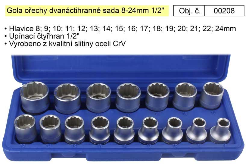 """Gola ořechy dvanáctihranné sada 8-24mm 1/2""""  100-00208"""
