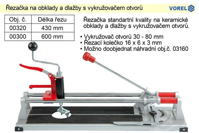 Řezačka na obklady a dlažby 600 mm s vykružovačem otvorů