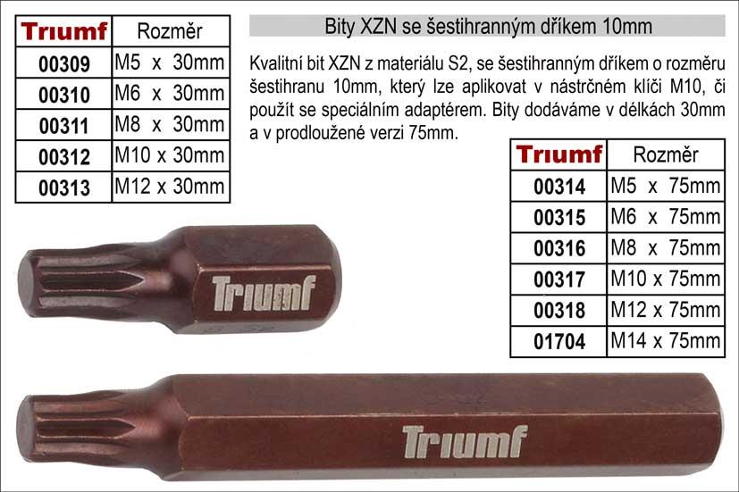 Bit XZN M 5 se šestihranným dříkem 10mm, prodloužený délka 75mm 100-00314