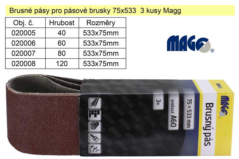 Brusný pás pro pásové brusky 75x533 Z80 sada 3 kusy