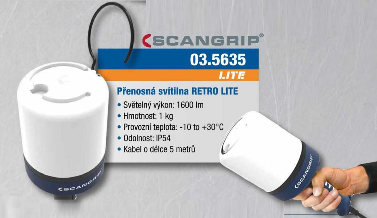 SCANGRIP RETRO LITE profi pracovní světlo s úhlem paprsku 360° 1600 lm, 72 SMD LED
