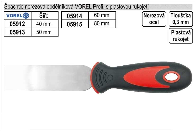 Špachtle nerezová   Profi obdélníková 80mm