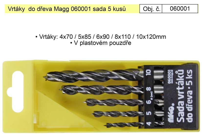 Vrtáky  do dřeva Magg 060001 sada 5 kusů 4-10mm