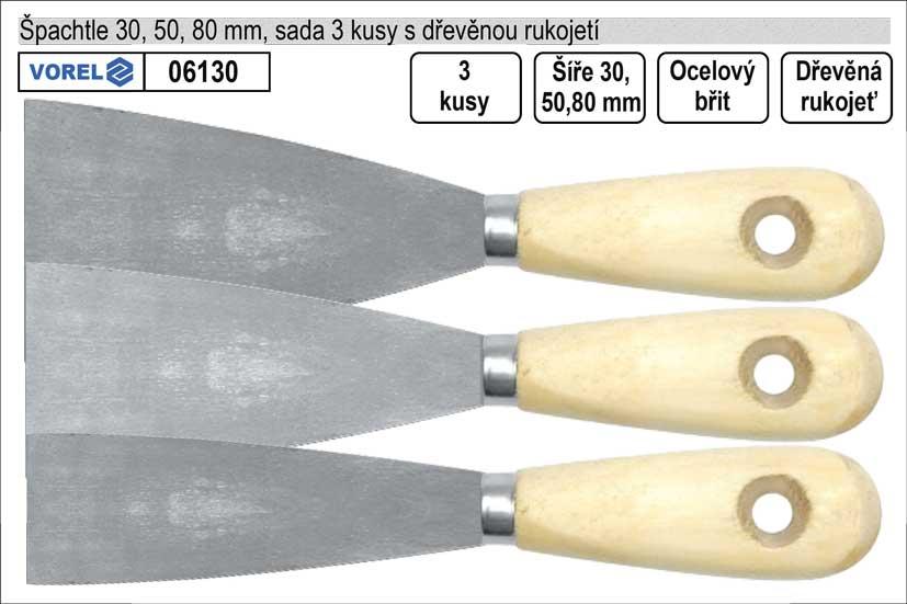 Špachtle Standart  sada 3 kusy 30,50,80mm Nářadí 0.14Kg TO-06130