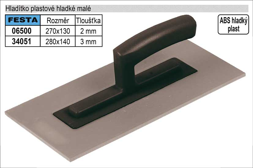 Hladítko plastové hladké 270x130mm, síla 2mm Nářadí 0.208Kg TO-06500