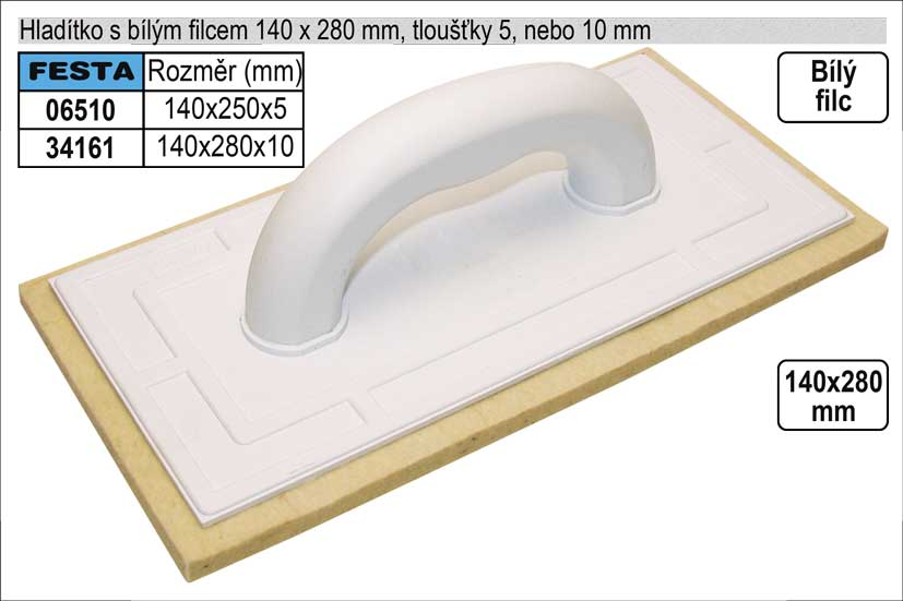 Hladítko filcové bílý filc 10mm rozměr 280x140mm