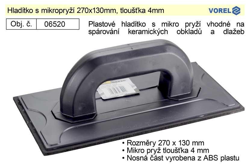 Hladítko s mikropryží 270x130mm, tloušťka 4mm
