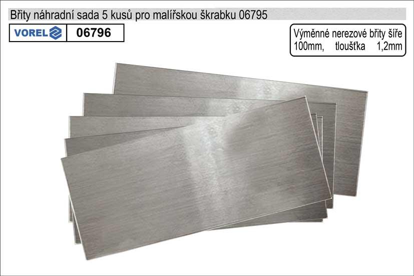 Břity náhradní do malířské škrabky 100mm balení 5 kusů