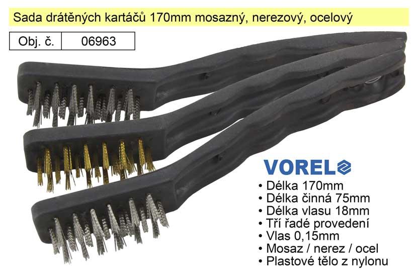 Sada drátěných kartáčů 170mm mosazný, nerezový, ocelový