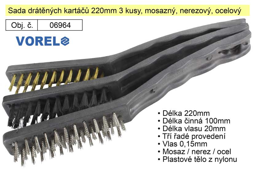Sada drátěných kartáčů 220mm mosazný, nerezový, ocelový