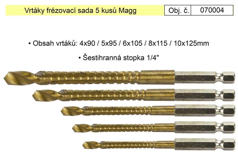 Vrtáky frézovací sada 4-10mm Magg 070004 se šestihrannou stopkou