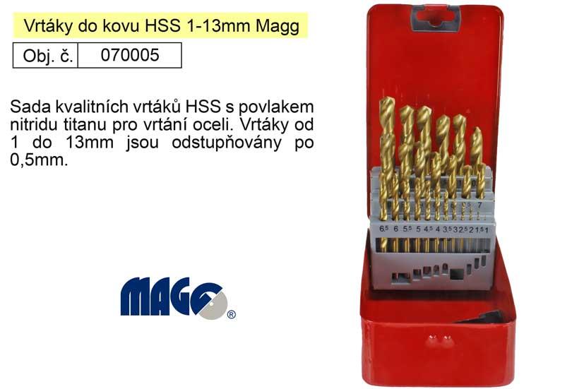 Vrtáky do kovu HSS 1-13mm Magg 070005 sada 25 kusů v plechové kazetě Nářadí-Sklad 2 | 1,067 Kg