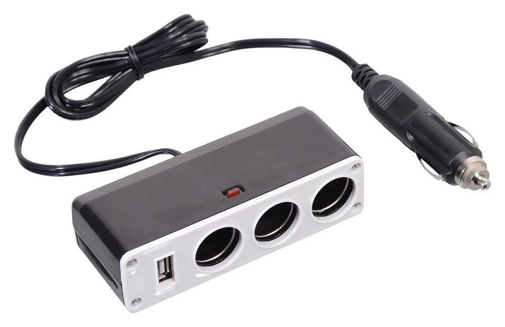 Roztrojka do zásuvky automobilu s USB 5V/1000mA Nářadí 0.168Kg AT-07416
