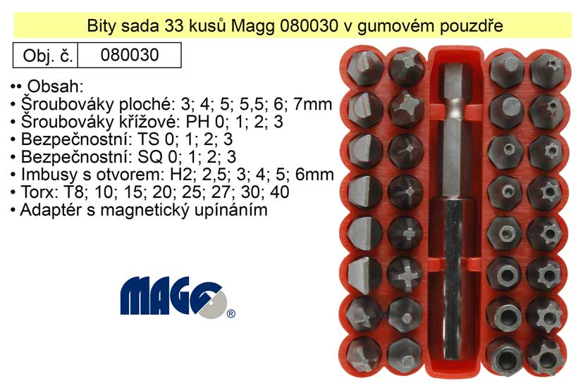 Bity sada 33 kusů Magg 080030 v gumovém pouzdře
