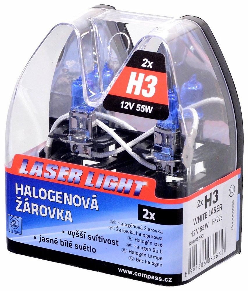 Žárovka 12V  H3  55W Pk22s WHITE LASER  2ks Nářadí 0.1Kg AT-08563