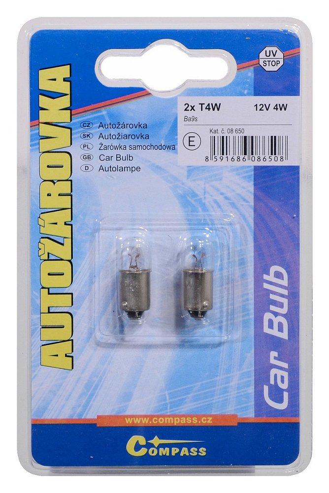 Žárovka 12V  T4W  4W Ba9s blister 2ks