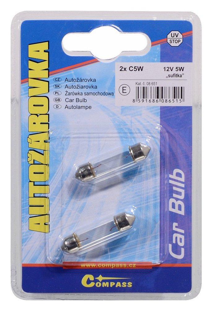 Žárovka 12V  C5W  5W sufit blister 2ks