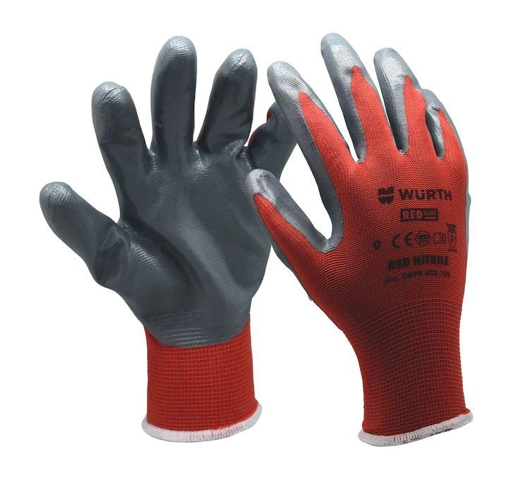 "WÜRTH RED NITRILE Ochranné pletené rukavice červená barva, nitril vel.9"" RED LINE *NÁŘADÍ 0.11Kg 899403109"