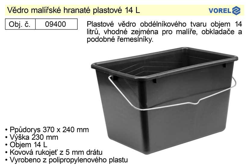Vědro malířské hranaté plastové 14L Vorel 09400 (254359)