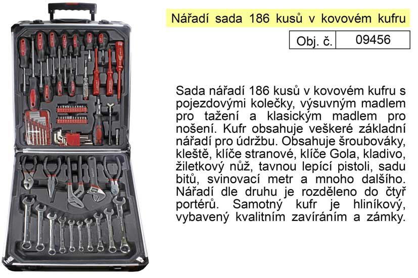 Nářadí sada 186 kusů v kovovém kufru  - Kraft Man