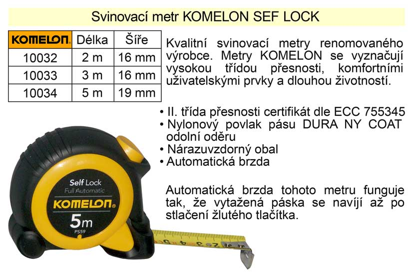 Metr svinovací Komelon Self Lock délka  2 m