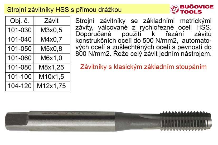 Strojní závitník M12x1,75 HSS přímá drážka klasický závit