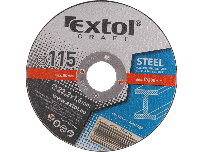 kotouče řezné na kov, 5ks, 115x1,6x22,2mm, EXTOL CRAFT