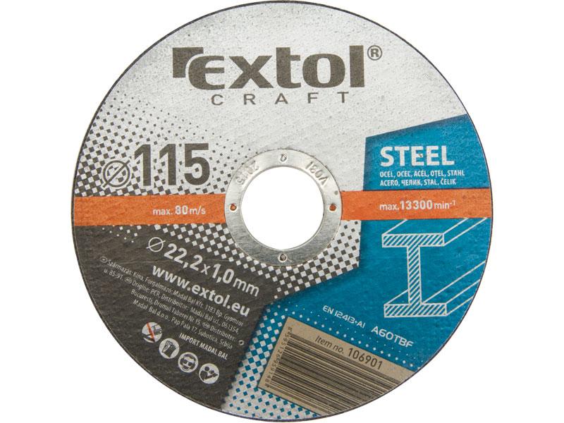 kotouče řezné na kov, 5ks, 230x2,5x22,2mm, EXTOL CRAFT