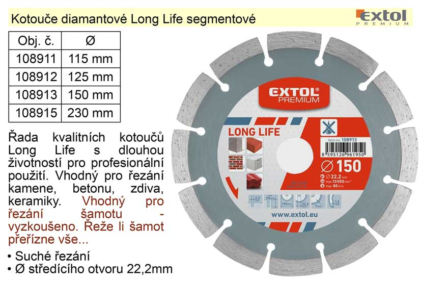 Kotouč diamantový Long Life segmentový 230mm