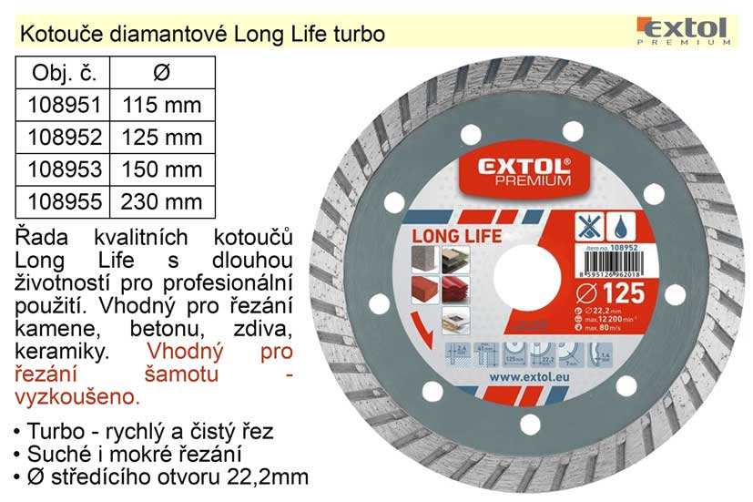 Kotouč diamantový Long Life turbo 230mm