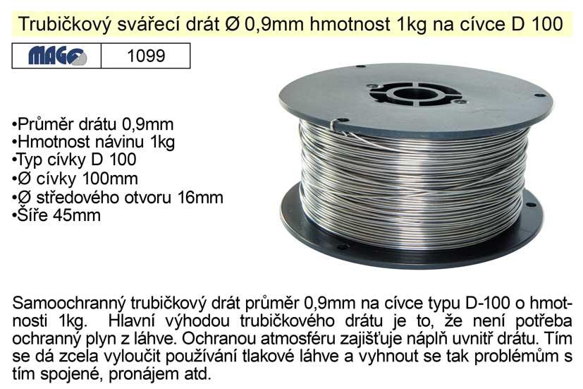 Drát svařovací trubičkový 0,9mm/1kg na ocel