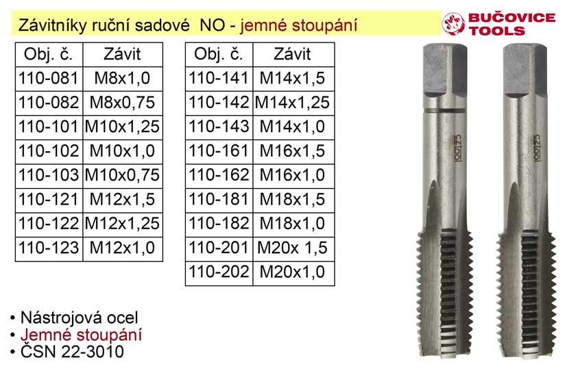 Závitníky ruční sadové M22x1,5 NO jemný závit