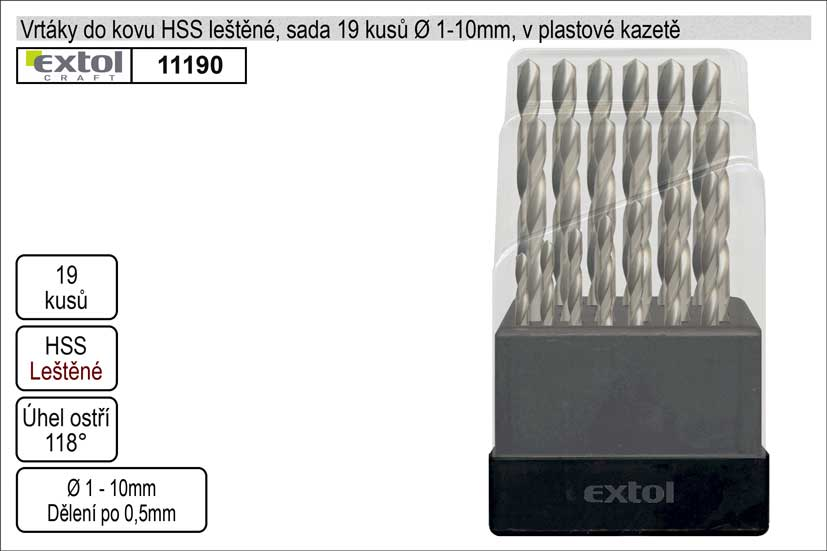 Vrtáky do kovu leštěné 1-10mm sada HSS Nářadí 0.439Kg MA11190
