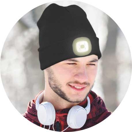 MAGG čepice s čelovkou 45lm, nabíjecí, USB, černá, univerzální velikost