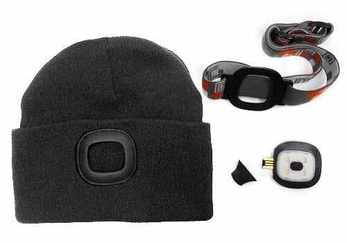 MAGG čepice s čelovkou 45lm, nabíjecí, USB, černá, univerzální velikost Nářadí 0.195Kg 120256