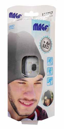 MAGG čepice s čelovkou 45lm, nabíjecí, USB, šedá, univerzální velikost