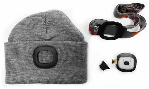 MAGG čepice s čelovkou 45lm, nabíjecí, USB, šedá, univerzální velikost Nářadí 0.195Kg 120257
