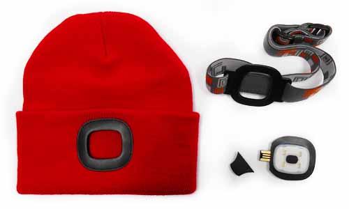 MAGG čepice s čelovkou 45lm, nabíjecí, USB, červená, univerzální velikost