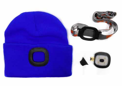 MAGG čepice s čelovkou 45lm, nabíjecí, USB, modrá, univerzální velikost