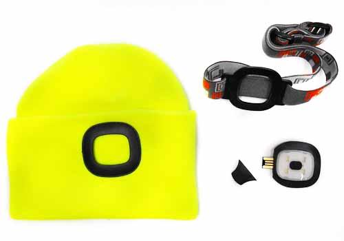 MAGG čepice s čelovkou 45lm, nabíjecí, USB, reflexní žlutá/zelená, univerzální velikost