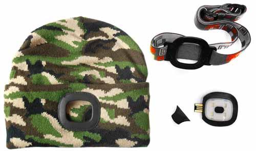MAGG čepice s čelovkou 45lm, nabíjecí, USB, maskovcí, camo, univerzální velikost