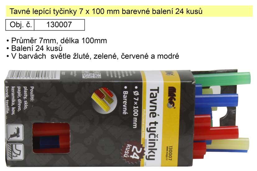 Tavné lepící tyčinky barevné 130007 rozměr 7x100mm balení 24 kusů