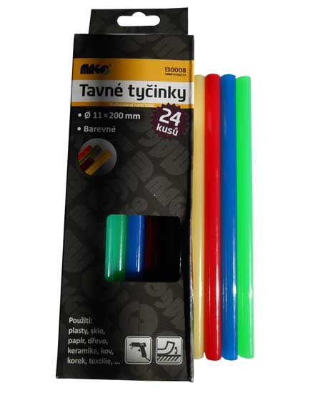 Tavné lepící tyčinky barevné 130008 rozměr 11x200mm balení 24 kusů Nářadí 0.51Kg 130008