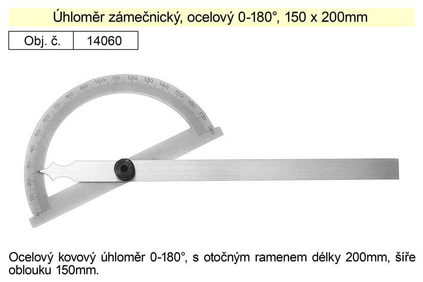 Úhloměr zámečnický 0-180° 150x200mm