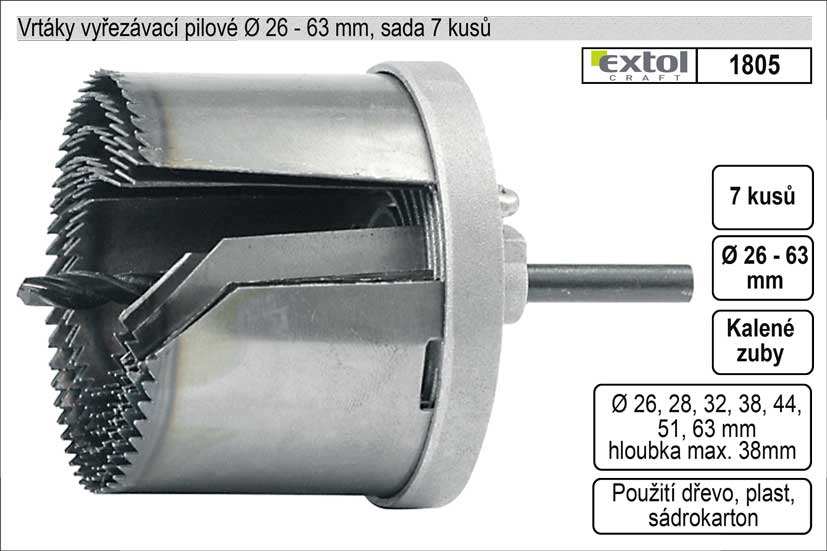 Vrtáky   vyřezávací pilové sada  7 dílů 26-63mm
