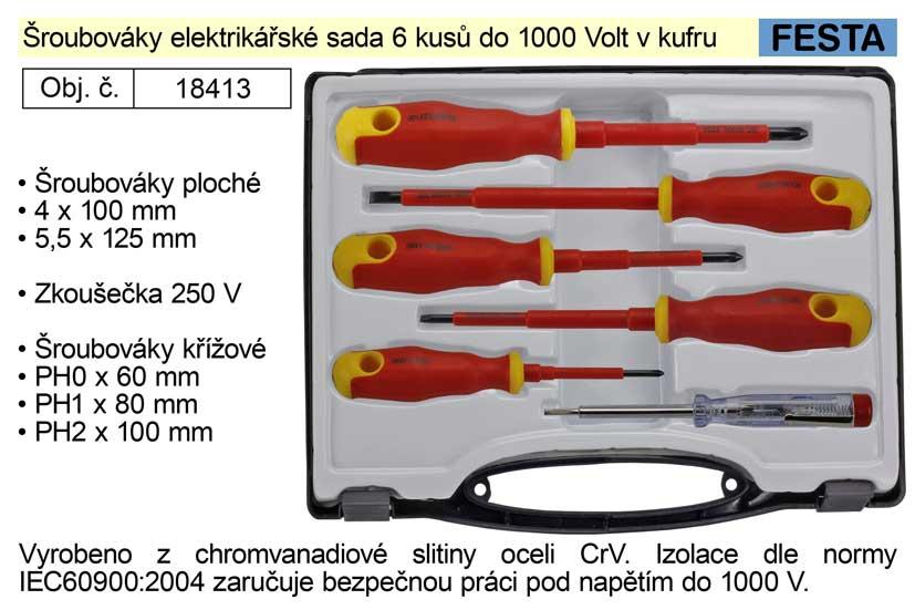 Šroubováky elektrikářské sada 6 kusů izolované do 1000 V v kufru