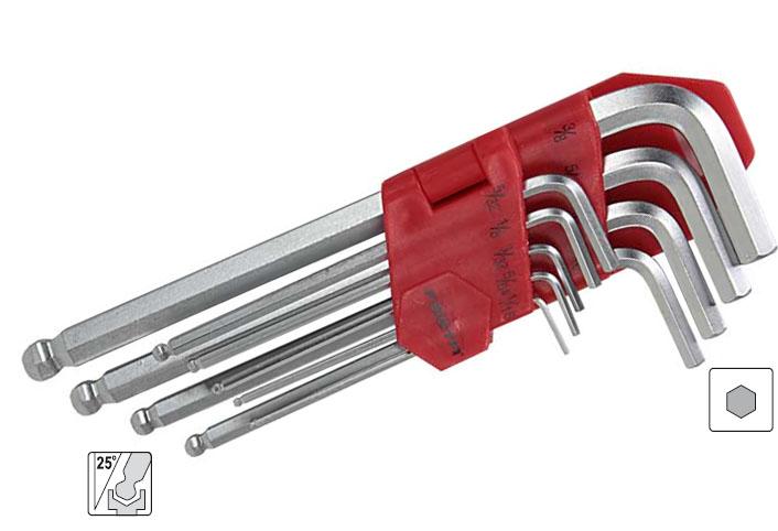 Klíče Imbus, palcové, s kuličkou, zahnuté, sada 9 kusů, Festa