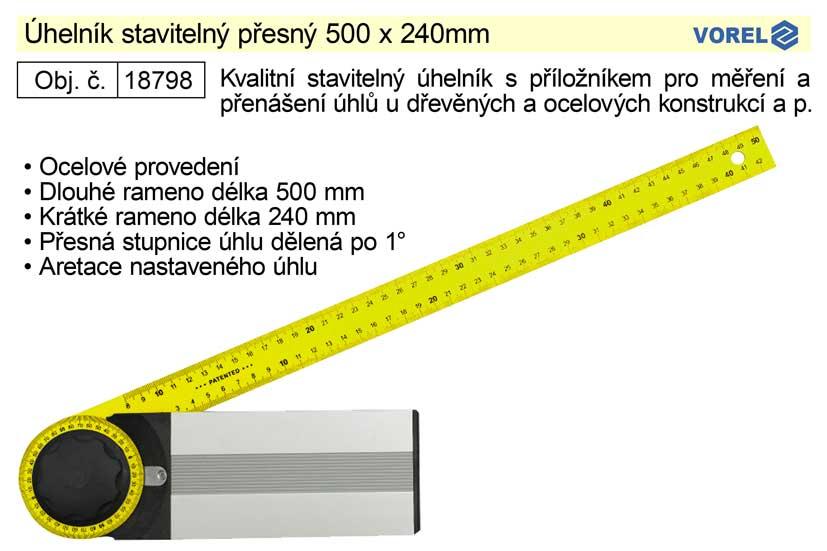 Úhelník stavitelný přesný 500 x 240mm Nářadí 0.6Kg TO-18798